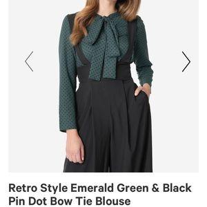 Tops - Retro style green polka dot tie neck blouse